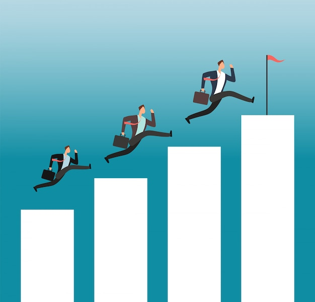 Team reaching goal. successful people running on growing chart bars. business achievement vector concept