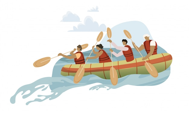 Team in rowing boat cartoon illustration