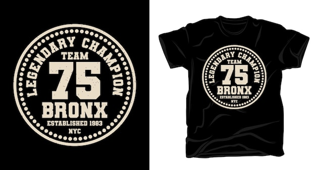 Дизайн футболки team seveny five bronx typography