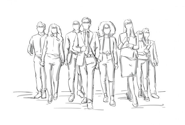 Team of sketch businesspeople walking businessmen leading bsuiness people group leadership concept