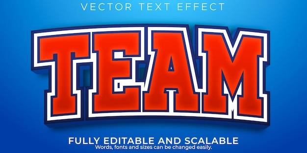 Текстовый эффект командного спорта, редактируемый стиль текста баскетбола и футбола