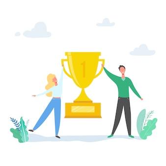 チームの成功の概念図。勝利を祝うビジネスリーダーの人々。報酬を達成する男女。ビジネスマンやビジネスウーマンのトロフィーを獲得。勝利賞