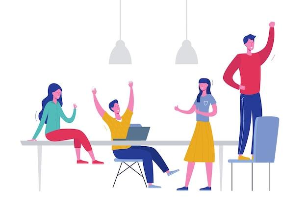 팀 성공 개념 그림입니다. 승리를 축하하는 비즈니스 리더 사람들. 남자와 여자는 성취 보상을 획득했습니다. 사업가 사업가 사무실에서 행복. 승리 상
