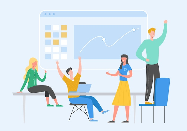 Team success concept illustration. business leader people celebrating victory. man and woman winning  achievement reward. businessman and businesswoman happy in office. victory prize