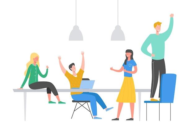 팀 성공 개념 그림입니다. 승리를 축하하는 사업 사람들. 골드 컵, 업적 보상, 승자 리더를 들고 남자. 사업가 사업가 사무실에서 행복. 승리 상