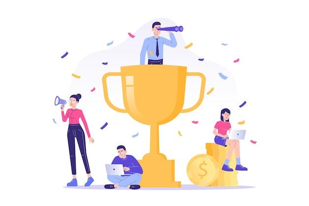 승리를 축하하는 사람들과 팀 성공 개념