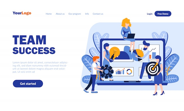Team success flat landing page  with header