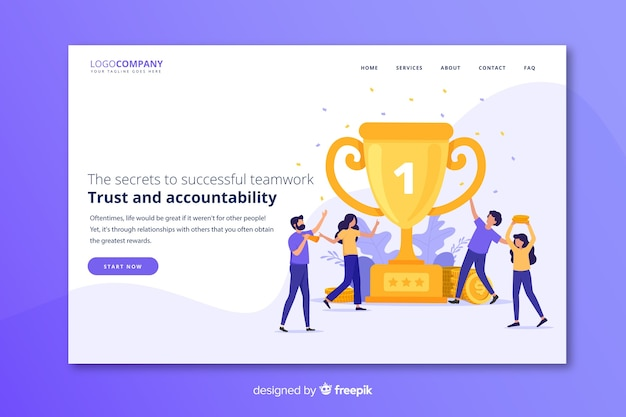 Team success landing page