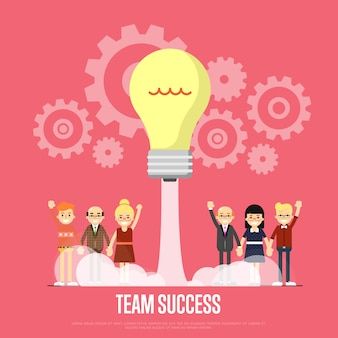 Team success template with business peole