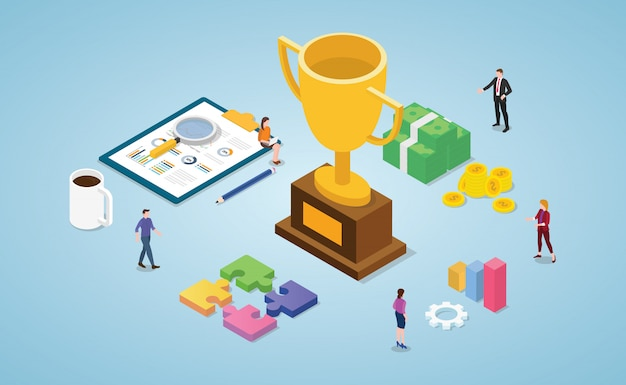 Team success winner with big golden trophy and isometric modern flat