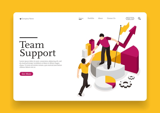 Team support each other and analyzing business business goals and growth isometric concept