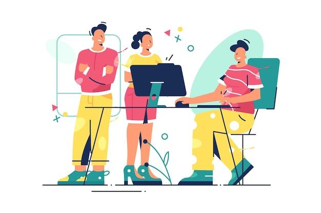 사무실 그림에서 팀 이야기.