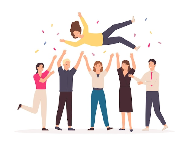 Team throwing person in air. celebrate win and business success congratulation. friends toss up woman at party with confetti vector concept. young man and woman employees achieving victory