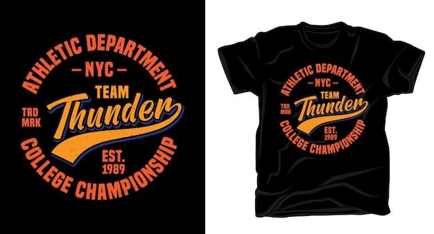 Типография дизайн футболки team thunder