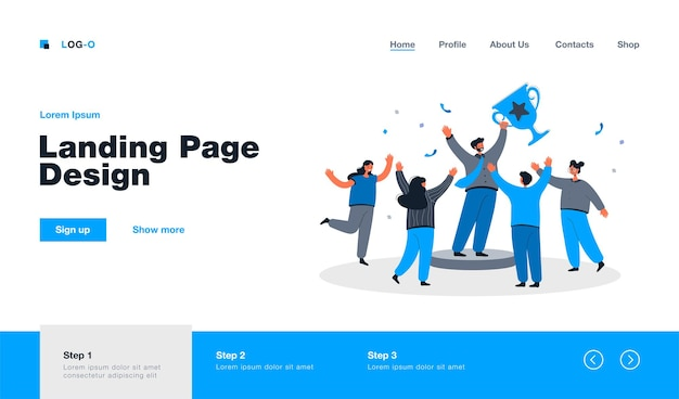Team of tiny office people employees winning gold cup landing page in flat style