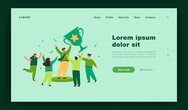 Team of tiny office people employees winning gold cup landing page template