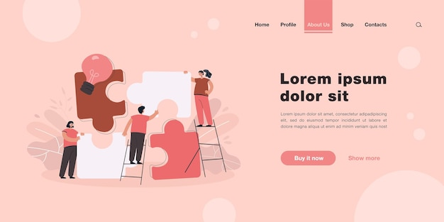 Team of tiny people connecting giant puzzle elements landing page in flat style