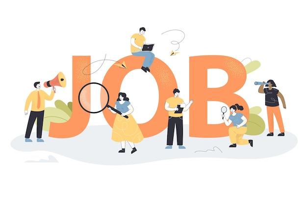 Team of tiny supervisors with searching tools finding employees