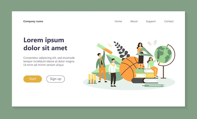 Team of tiny teachers with school supplies landing page