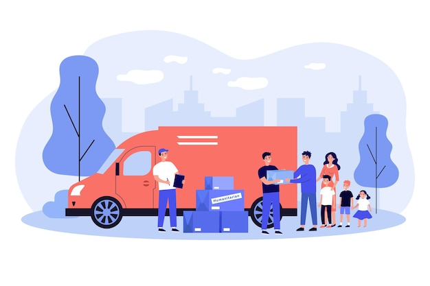 Team of volunteers giving help boxes to family flat illustration