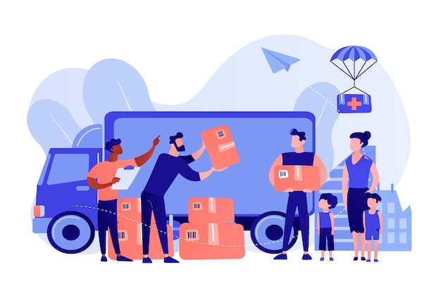 Team of volunteers giving help boxes to refuges and humanitarian aid van. humanitarian aid, material assistance, governmental help concept. pinkish coral bluevector isolated illustration