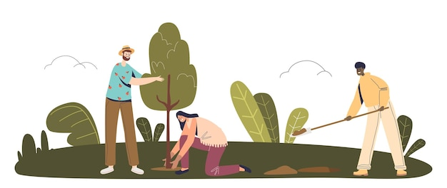 Team of volunteers planting trees in park or forest to save planet from deforestation. green eco volunteering and save environment concept. cartoon flat vector illustration
