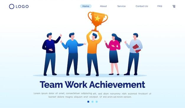 Team work achievement landing page website illustration vector template