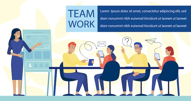 Team work and application development flat banner
