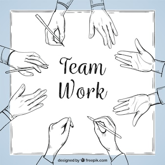 Team work background in hand drawn style