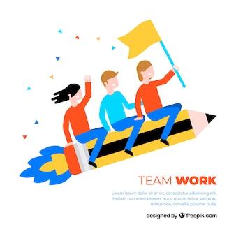 フラットスタイルのチームワークの背景