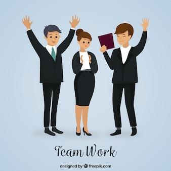 Team work background in hand drawn style