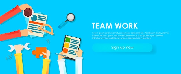 Team work banner. hands with objects, document, coffee, puzzle.