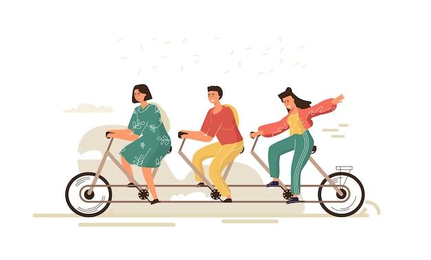 Team work bike illustration