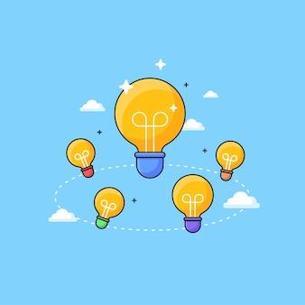 電球と雲のベクトル図を使用してアイデアのビジュアルコンセプトデザインをブレインストーミングするチームワーク