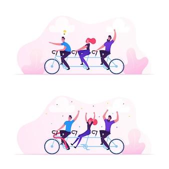 팀 작업 비즈니스 성공 개념입니다. 만화 평면 그림