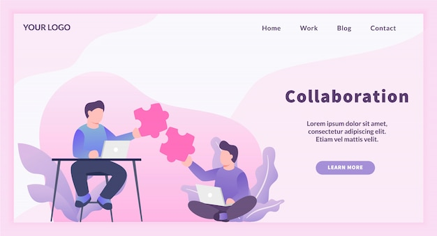 Team work collaboration between freelancer worker with puzzle matching concept