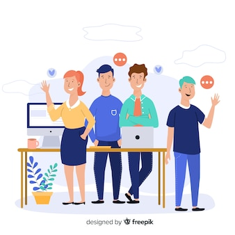 Team work concept for landing page