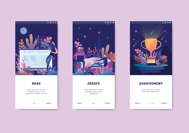 Team work concept onboarding screens user interface kit template