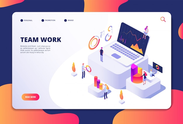 Team work concept. people work with finance charts and graphs. business data analysis and optimization. landing web page vector design