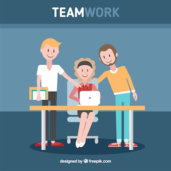 Team work concept with flat design