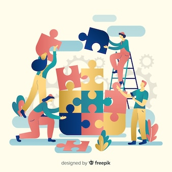 Team work connecting puzzle pieces background