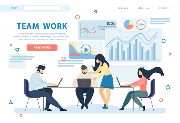 Team work horizontal banner. business people group