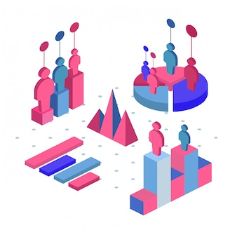 Team work icon, vector symbol in flat isometric style isolated