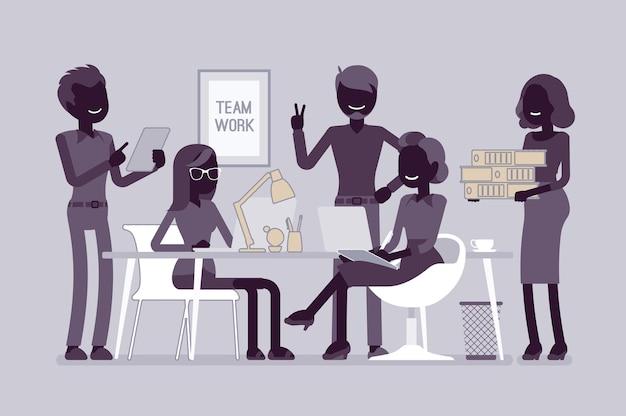 사무실 그림에서 팀 작업