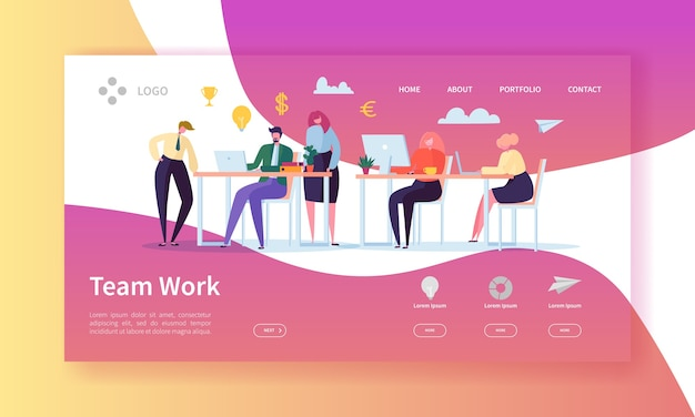 Team work landing page. banner with flat business people characters working together website template.