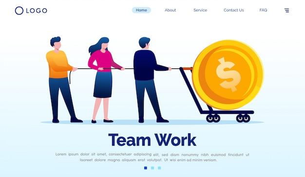 Team work landing page flat vector template