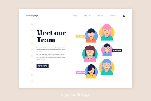 Team work landing page template