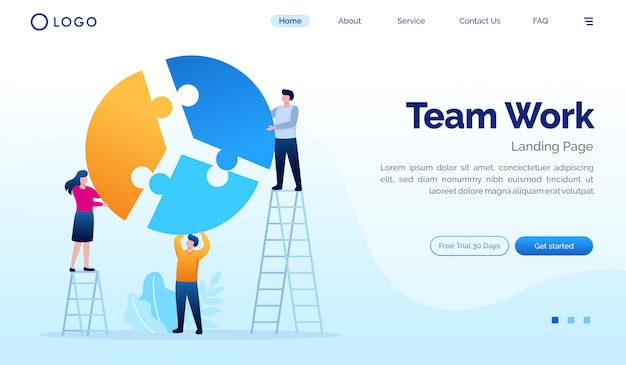 Team work landing page website illustration flat vector template