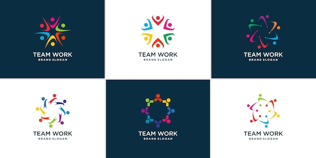 Team work logo collection with modern abstract concept premium vector