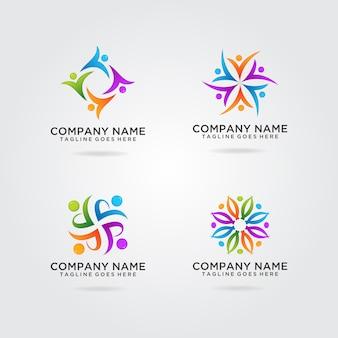 Team work logo design 4 sets